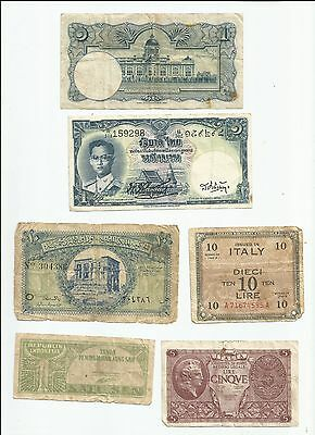 Bank note collection, Thai, Indonesia, Egypt, Italy