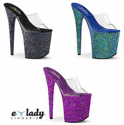 "Pleaser Flamingo-801LG Shoes Slip On Mules 8"" High Heels Glitter Pole Dancing"