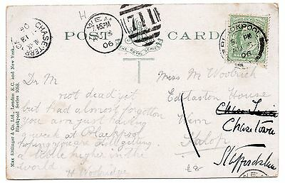 1906 post card with 1/2d green tied by Blackpool pmk also Chase Terrace cds & 71