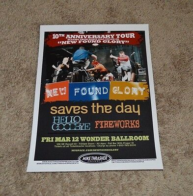 New Found Glory Portland Concert Tour Poster- 10Th Ann. Tour/saves The Day, Etc