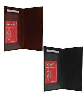 CHECKBOOK COVER PLAIN SET OF 2 BLACK BROWN GENUINE LEATHER By Marshal