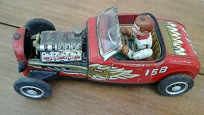 Tinplate hot rod 1950s Japanese battery operated