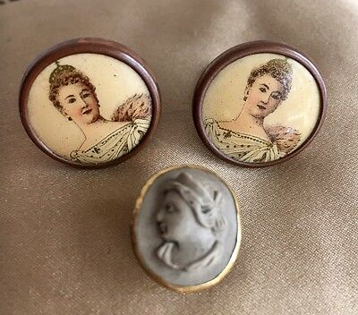 Three Exquisite Victorian Buttons Studs Cufflinks Miniature Portraits and Cameo