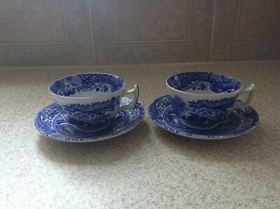 2 Spode Blue And White Breakfast Cups And Saucers Mint