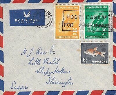L 660 Singapore cancelled  Malaya stamped cover November 1962 air UK