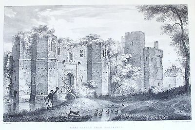 OLD ANTIQUE PRINT KIRBY MUXLOE CASTLE GLENFIELD LEICESTERSHIRE c1820s LITHOGRAPH