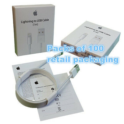 100x OEM Authentic Original Apple iPhone 6 plus Charger Lightning USB Data Cable