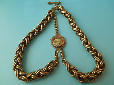 ANTIQUE GOLD PLATED DOUBLE ALBERT CHAIN & SPINNING FOB NOT SCRAP 180grms