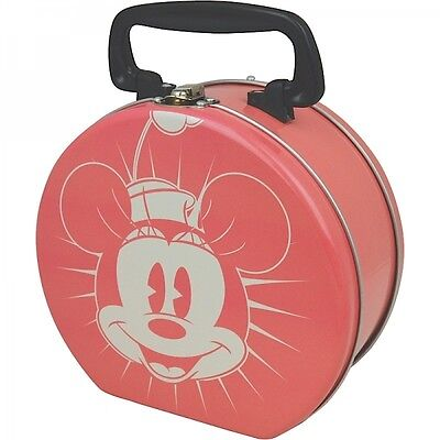 Retro Round Tin Tote Minnie Mouse Pink Clasp Lunch Box Kids Boys Girls Disney