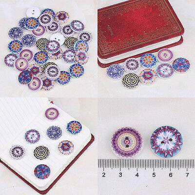 New 2 Holes Sewing Craft Mixed Wooden Sewing Buttons Fit Scrapbooking DIY 50Pcs