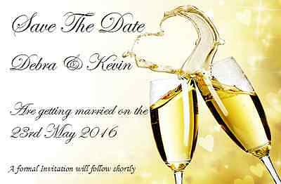50 Personalised Save The Date Wedding Cards with Envelopes posted 1st class GD