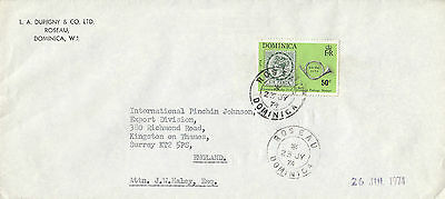 L 1632 Dominica 1974 Roseau  cover to UK; 50c rate; solo stamp used