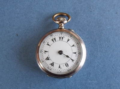 Decorative Silver & Gold Fob Pocket Watch - Turkish Dial - Working Order