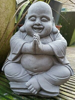 Praying Fat Buddha Handmade Far Eastern Cast Garden Ornament Statue Koi Gift