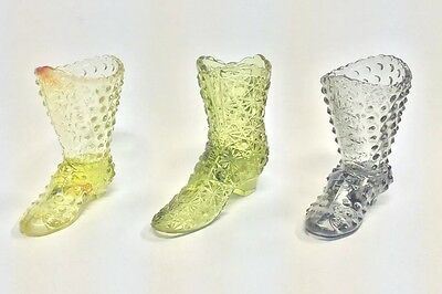 "3 Fenton Glass Boots - Yellow, Green, Grey - 4"" Tall"