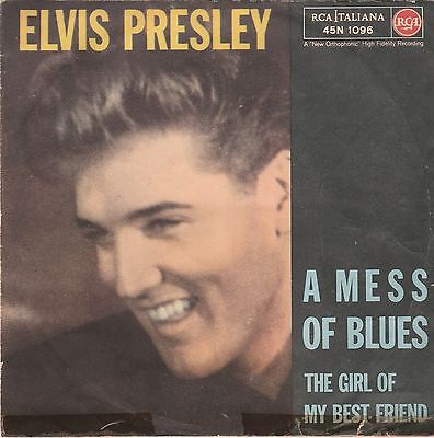 "ELVIS PRESLEY A Mess of Blues 7""45 Giri ITA 1960 SOLO COPERTINA/ONLY COVER"