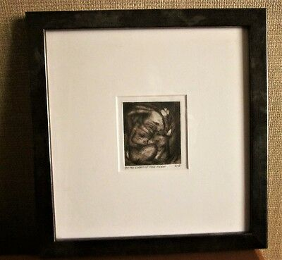 Original, framed charcoal drawing of rabbit by Swansea artist Kerry Evans.