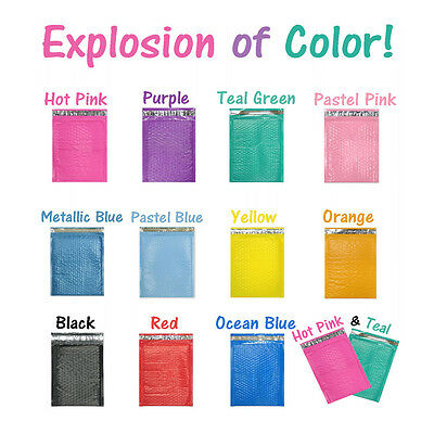 8.5x12 Colored Poly Bubble Mailers Pink,Teal, 8x12 Shipping Mailing Envelopes #2