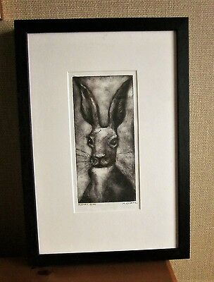 Charcoal, framed, signed drawing of hare by Kerry Evans, Swansea artist.