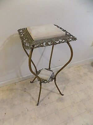 Antique Victorian Brass & Marble Top Ornate Side Lamp Table, Late 19th Century