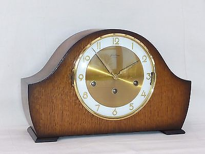 Bentima Hermle Rich Oak Triple Westminster Chime + Silent Mantle Mantel Clock