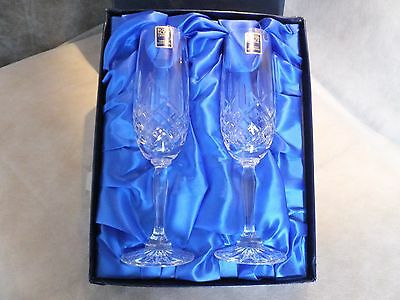 R0YAL SCOT HAND CUT PAIR CHAMPAGNE FLUTES Fine Lead Crystal Glasses.