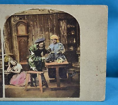 Charming Late 1850s Hand Tinted Genre Stereoview The Miser Money Lender Scrooge