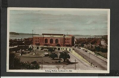 Vintage Colour Real Photo Postcard Railway Station Auckland New Zealand unposted