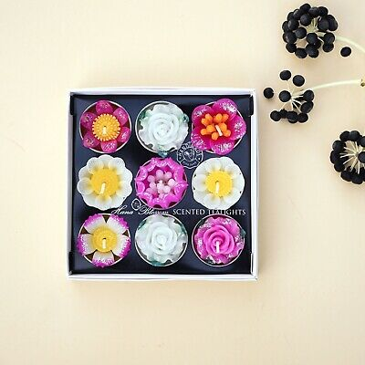 Pack of 9 handmade scentd glitter flower tealight candles in a gift box set