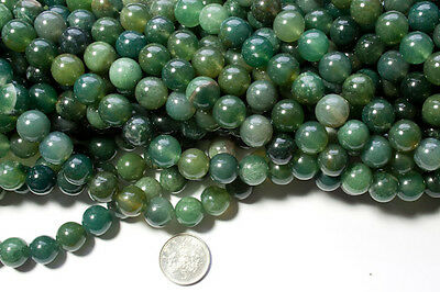"1 x 16"" string of 10mm green moss agate round beads - approx 39 beads a strand"