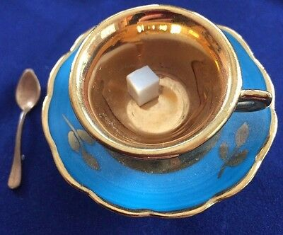 LIMOGES Trinket Blue Box Coffee Cup on Plate Attached Sugar Cube ...