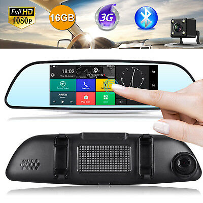 "7"" Android GPS Navigation Dual Lens HD 1080P Auto Kamera Rearview Mirror Cam DVR"