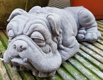 Laying Bulldog Handmade Cast Garden Ornament Statue Sculpture Decor Gift Patio