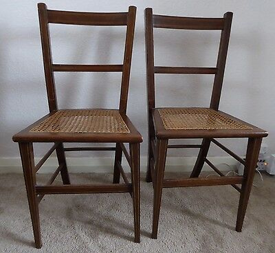 Antique Pair of Solid Wood Cane Seat Bedroom/Hall Chairs with Marquetry Inlay