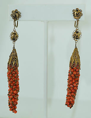Art Deco Chinese Sterling Silver Gold Gilt & Coral Very Long Dangle Earrings