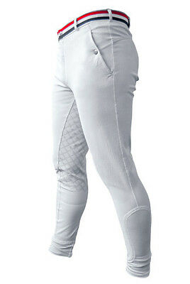 NEW John Whitaker Mens Rotterdam Breeches - Silicone Sticky Bum Seat White Navy