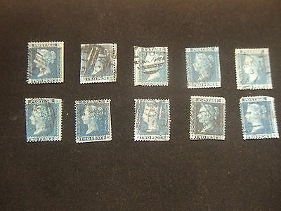 10 Victorian Used Two Penny Blue Stamps