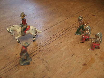 Rare Vintage Charbens Lead Cowboy On Horse + 1 Lead Cowboy And 3 Lead Indians