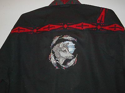 Moon Wolf Embroidered Shirt (Native American Looking)