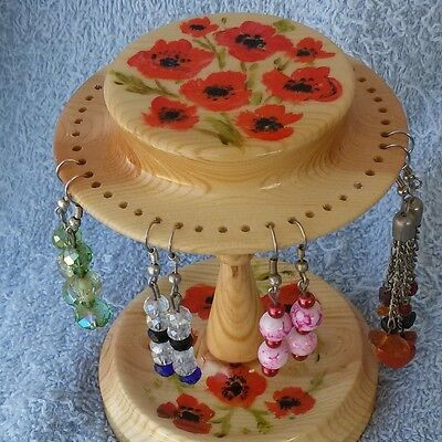 Wood Earring Holder, Hand Crafted And Painted, Red Poppies, Holds 24 Pairs