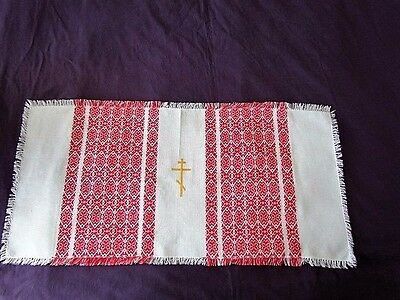 Orthodox Cross Icon Ukrainian Russian Runner Scarf Easter basket Cover Wedding
