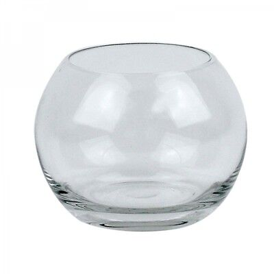 "10 x OASIS GLASS 4.5"" FISH BUBBLE BOWL ROUND WEDDING TABLE FLOWER VASE CLEAR EF"