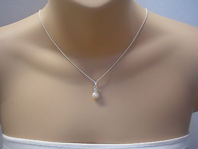 Pearl & Crystal Diamante Pendant Necklace Chain Bridal Bridesmaid Dainty 63C