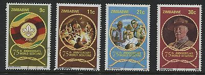 Zimbabwe: 1982 Boy Scouts 75th Anniversary set of 4 stamps SG616-619 Used- AF254