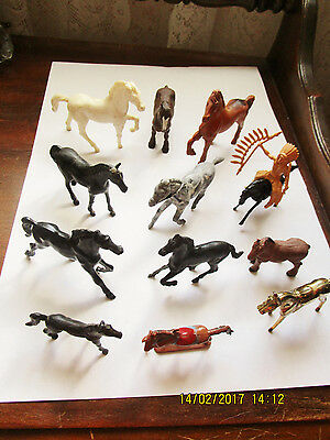 Lot Vintage Toy Horses – Rubber & Plastic