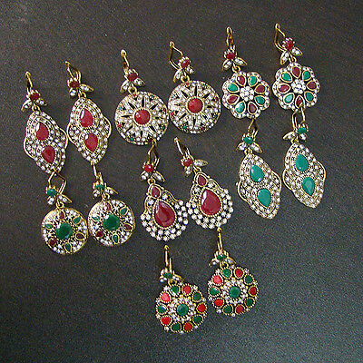 Virile 7 Pcs Emerald & Ruby Victorian Solid Brass Wholesale Earrings Lot  S1232