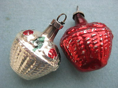 Antique German Christmas Silver Glass Ornament  2 Baskets