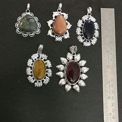 Wholesale 5Pc Sterling Silver Plated  Tigereye & Multistone 5Pc Huge Pendant Lot