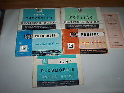 1966 1968 Chevrolet 1966 1968 Pontiac 1965 Olds  Passenger Car Owners Manuals