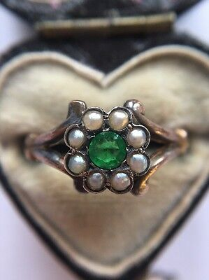 Stunning Victorian Antique Pearl And Green Stone Yellow Gold Cluster Ornate Ring